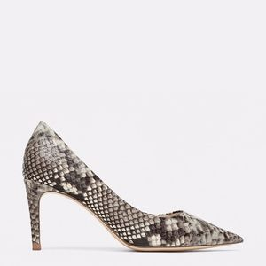 Zara Snakeskin Print Leather Pumps Kitten Heels
